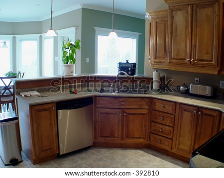 Modern Kitchen in new house - stock photo