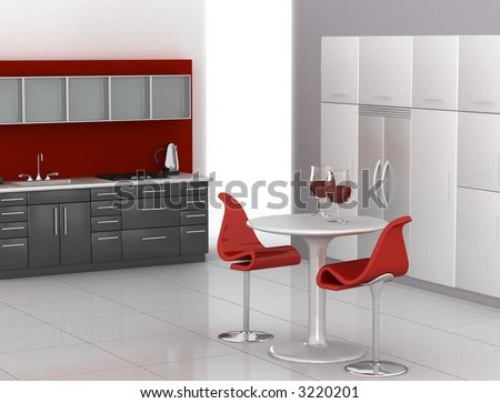 Modern kitchen in red, black and white - stock photo
