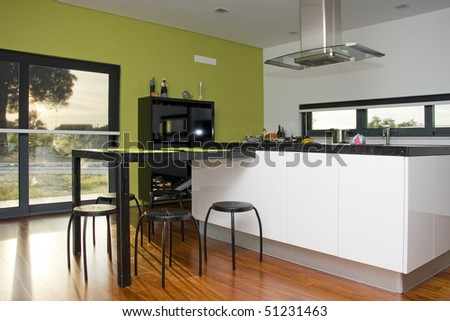Modern kitchen interior at a new home - stock photo