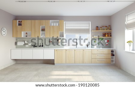 modern kitchen interior (CG concept) - stock photo