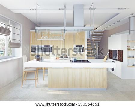 modern kitchen interior (CG concept)  - stock photo