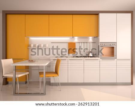 modern kitchen interior 3d - stock photo