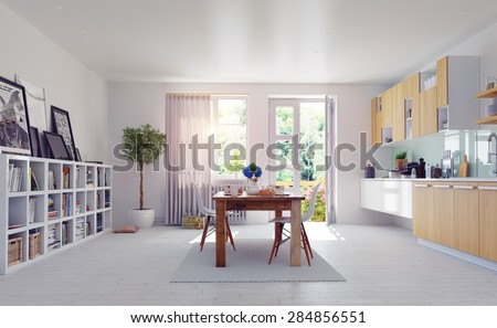 modern kitchen interior. 3d design concept. - stock photo