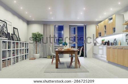 modern kitchen interior. 3d design concept.