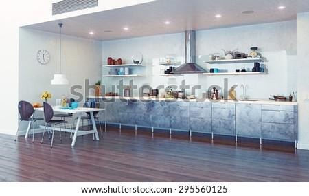 modern kitchen interior. 3d design concept - stock photo
