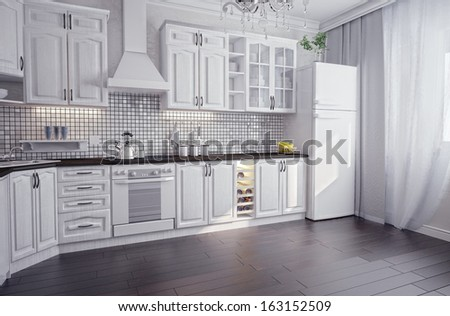 modern kitchen interior (3D render) - stock photo