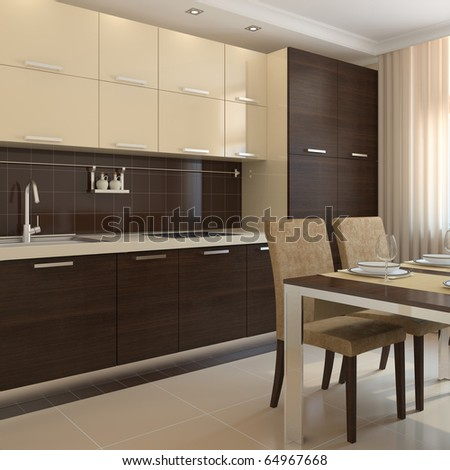 Modern kitchen interior. 3d render. - stock photo