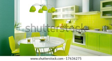 modern kitchen interior 3d rendering - stock photo