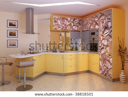 Modern kitchen. Interior design idea.Computer graphic rendering.Orange Kitchen - stock photo