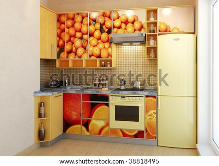 Modern kitchen. Interior design idea.Panorama kitchen .Yellow Kitchen - stock photo