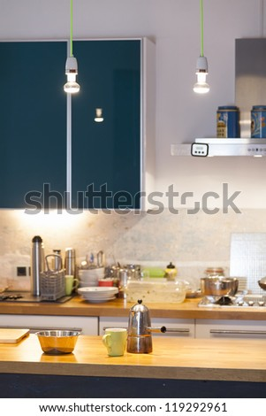 modern kitchen interior in a country style house. - stock photo