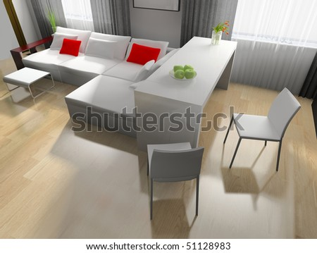 modern kitchen interior in house 3d image