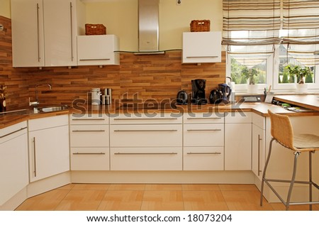 Modern kitchen interior in new home. - stock photo