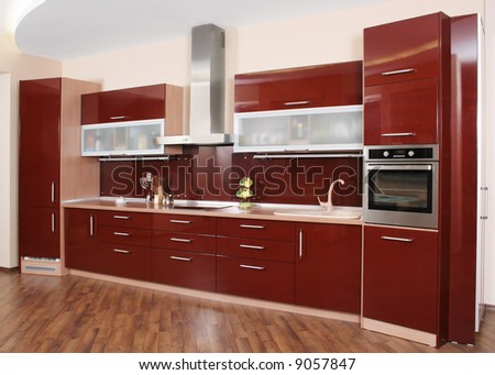 Modern kitchen interior shot with studio light
