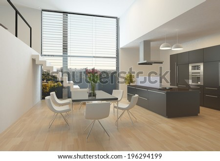Modern kitchen interior with a central hob, wall units, dining table and steps up to a mezzanine with a large view window - stock photo
