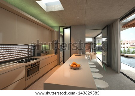 Modern Kitchen Interior with bar and chairs - stock photo