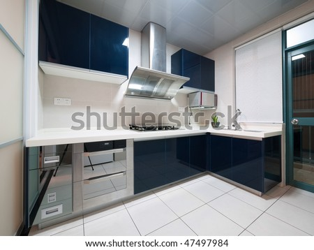 modern kitchen interior with cabinet and cooker