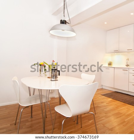modern kitchen interior, with kitchen table - stock photo