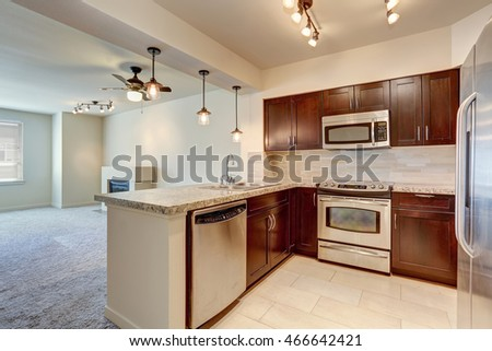 Modern kitchen interior with mahogany cabinets, steel appliances, view of empty living room. Northwest, USA