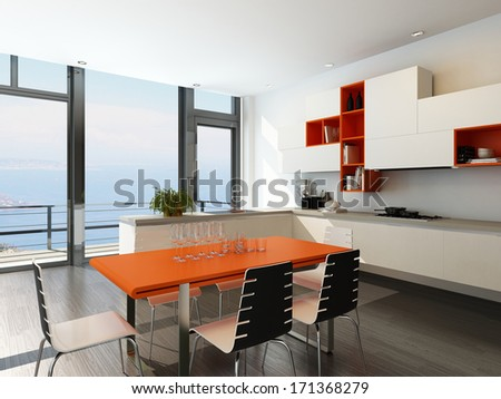 Modern kitchen interior with orange and white furniture - stock photo