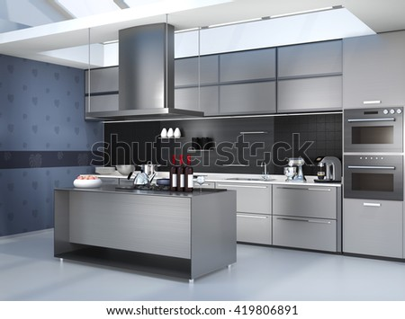 Modern kitchen interior with smart appliances in silver color coordination. 3D rendering image. - stock photo