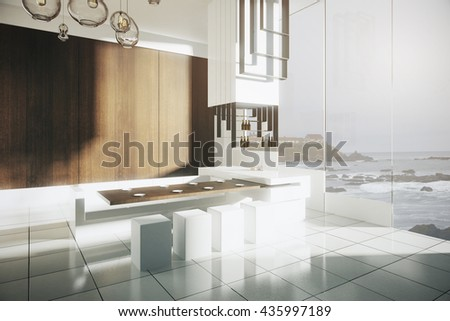 Modern kitchen interior with tile floor, wooden wall, dining area, bar stand and panoramic window with seashore view. 3D Rendering - stock photo