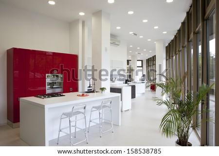 Modern kitchen retail interior - stock photo