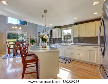 Modern kitchen room interior in white and gray color combination with kitchen island. Northwest, USA