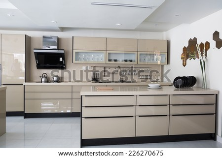 modern kitchen set up - stock photo