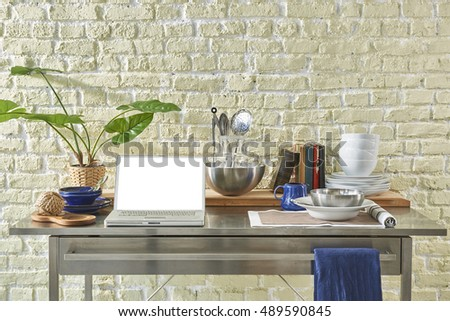 modern kitchen table chopping board with stone wall decor