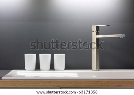 Modern kitchen tap - stock photo