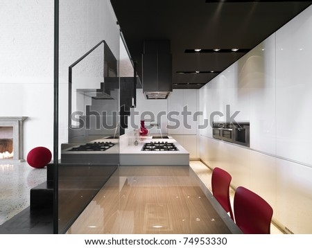 modern kitchen with a iron staircase - stock photo