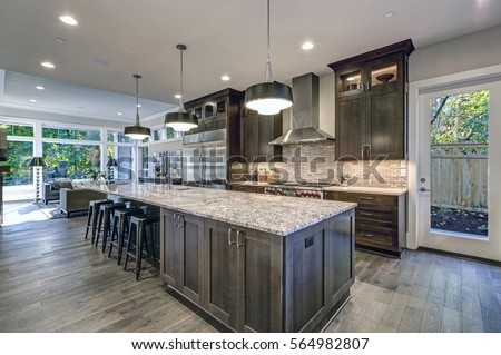 Modern Kitchen Brown Kitchen Cabinets Oversized Stock Photo Royalty - Brown and grey kitchen designs