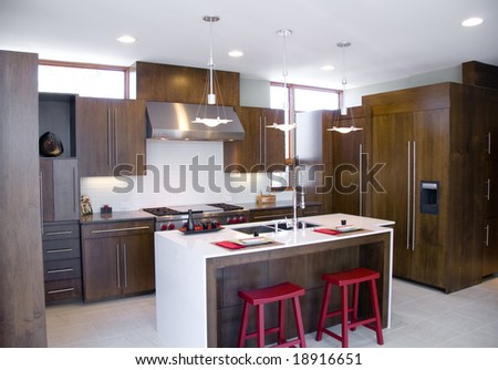Modern Kitchen with Dark Wood and Red Stools