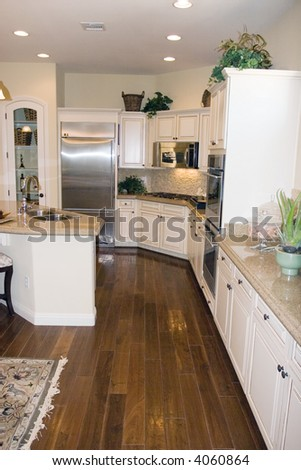 Modern kitchen with granite countertops - stock photo