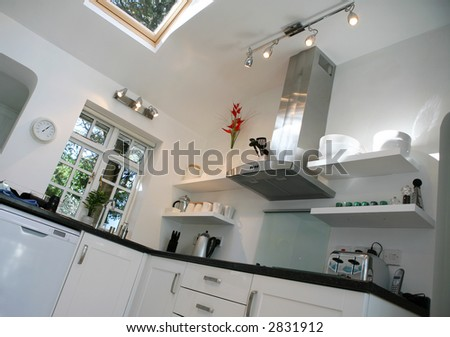 Modern Kitchen with integrated appliances - stock photo