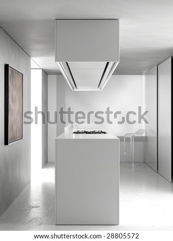 Modern kitchen with marble worktop and resin floor (3D render) - stock photo