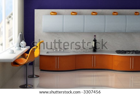 Modern kitchen with orange and blue cabinets - stock photo