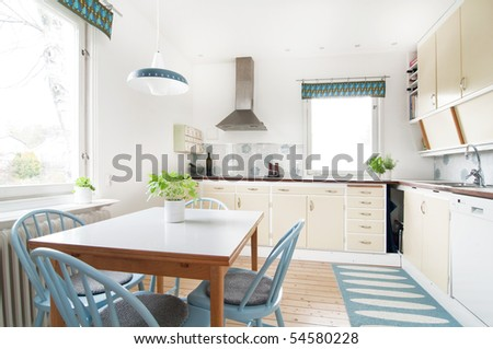 modern kitchen with 1950 retro feeling - stock photo