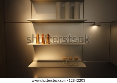 Modern Kitchen with shelving unit and accessories - stock photo