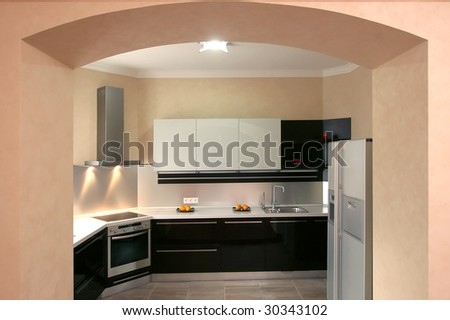 Modern kitchen with the built in home appliances