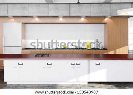 Modern kitchen with wood, concrete and white boards - stock photo