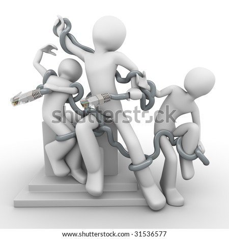 Modern Laocoon (ancient myth), people braided with social network, internet addicted - stock photo
