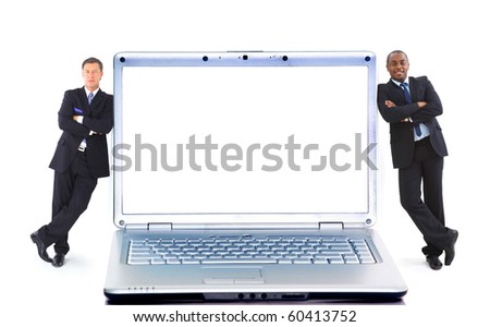 Modern laptop and two businessmans isolated on white background - stock photo