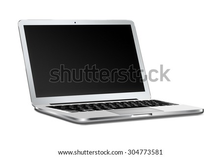 Modern laptop in macbooke style mockup with black screen and shadows isolated on white background. Highly detailed illustration.