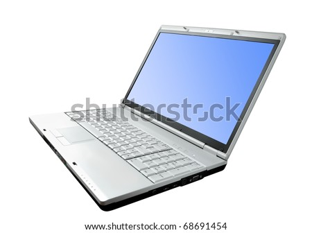 Modern laptop isolated on the white background - stock photo