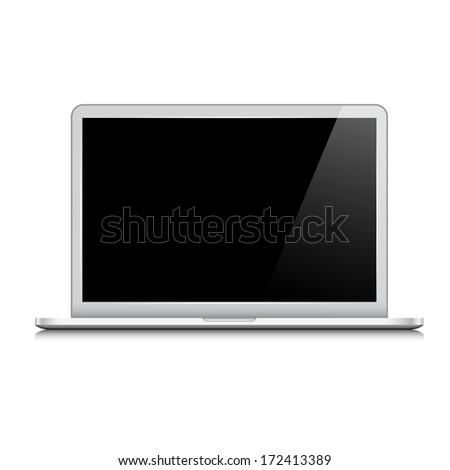 Modern laptop isolated on white. Raster version - stock photo