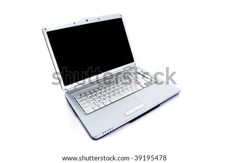 Modern laptop isolated on white with reflections on glass table