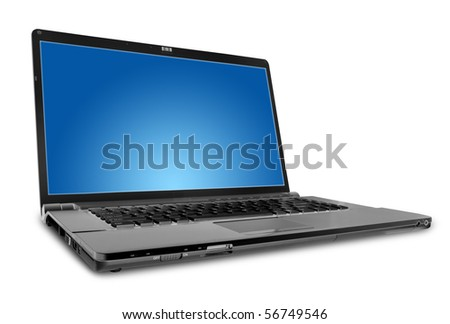 modern laptop on the white - stock photo