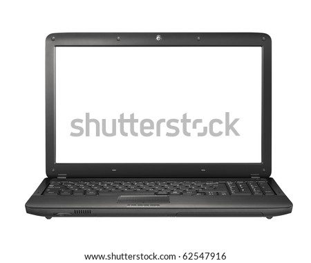 Modern laptop on the white background - stock photo
